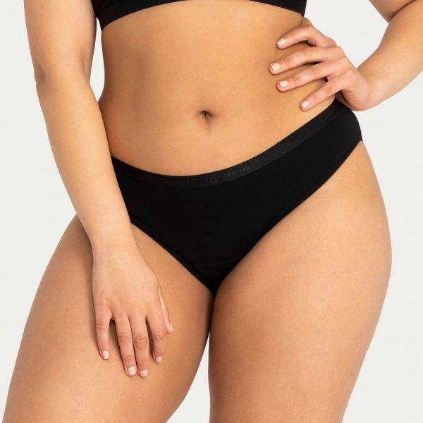Front of model wearing black period underwear