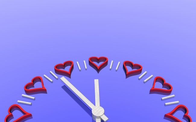 Find time, a clock with hearts in place of numbers